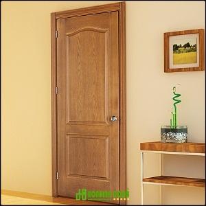 Cửa gỗ công nghiệp HDF veneer bền đẹp KD.2A-TEAK